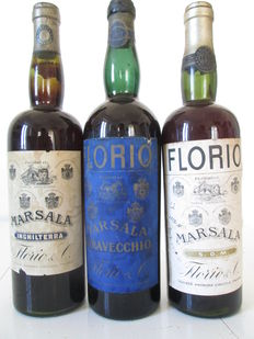Marsala Florio: 1x Inghilterra & 1x Stravecchio & 1x S.O.M. – 3 old bottles from the 1940's