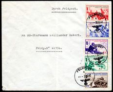 French occupation of France 1942 -  depictions of war, complete set on letter, Michel VI/X