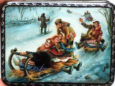 "Russian lacquer box - ""Fedoskino"" - Russian Village - ""Skiing from a Snowy Mountain"" - second half XX century- Russia"