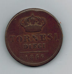 Kingdom of the Two Sicilies, 1846, 10 Tornesi – Ferdinand II