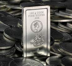 Cook Islands - $5 - 100 grams - 2009 - Coin Bar 999 Silver Bar, Fine Silver, 100 grams