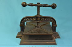 Small antique manual printing press