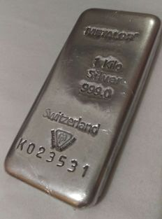 Metalor 1,000 g silver ingot - Switzerland