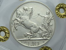 Kingdom of Italy – 10 Lire, 1930, 'Chariot' – Vittorio Emanuele III – Silver