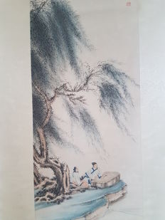 A partially Hand-painted scroll painting made after Zhang Daqian - China - 2nd half 20th century