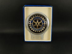 New Vintage Chrome Rotary International Club Car Badge with Original Box