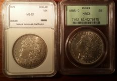 United States - 1 Dollar 'Morgan' 1879 & 1885-O (lot of 2 coins) - Silver