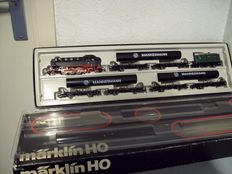Märklin H0 - 2854 - Steam locomotive BR 86 with 3 pipe carriages 'Mannesmann' and end carriage  of the DB