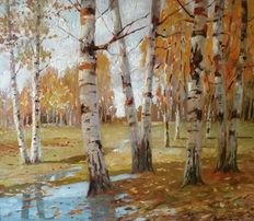 E.A. Gruppé (American School 1896 - 1978) - Impressionist summer landscape with birch trees