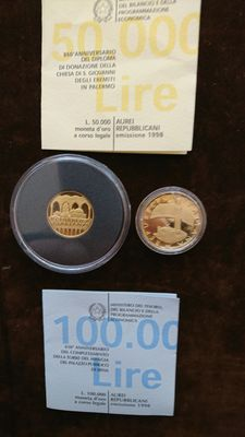 Italy, Republic – 50,000 and 100,000 lire 1998 – diptych with case – gold