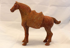 An Exceptional Red Painted Pottery Tang Dynasty Horse with Separate Saddle, Early Tang Dynasty, TL test - High 28 cm