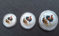Australia - 2 AUD + 1 AUD + 0.5 AUD - Lunar II Year of the Rooster Set - 0.5 oz + 1 oz + 2 oz - Beautiful colour edition