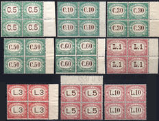 Republic of San Marino 1897-1919 tax markers, complete series in sets of 4 (Quartine)