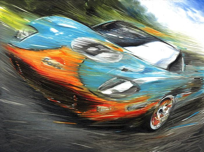 Jacky Ickx Ford Gulf GT40 MK I Le Mans 1969 Race Car - Art Print Poster - Hand signed by Artist Andrea Del Pesco + COA.