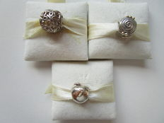 Set of three - 0.925 silver, Pandora charms - apple 14 kt - butterfly - spiral 14 kt.