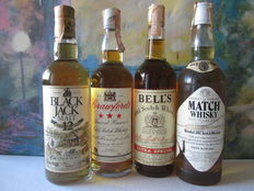 4 bottles - 1 Black Jack 12 years 75 cl – 1 Crawford's Special Reserve 75 cl – 1 Bell's Extra Special 75 cl - Match Whisky 5 years 75 cl – Rare