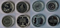 The Netherlands – 5 and 10 Euro/Guilder remembrance coins 1999/2013 (8 pieces in capsule) – silver