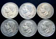 Spain – Alfonso XII – Lot of 6   two-peseta silver coins, years 1881 (3) and 1882 (3)