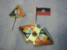 3 NSB paper pins worn at meetings,