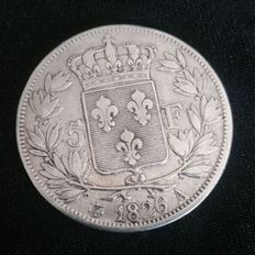 France – 5 francs 1826 A (Paris) – Charles X – silver