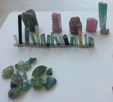 Exotic (Watermelon) Tourmalines & Apatite  - 20 x 5 mm to 6 x 1 mm - 54 ct