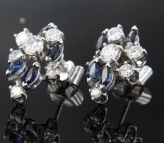 White gold ear studs of 14 kt, set with 8 marquise cut sapphires and 10 brilliant cut diamonds, dimensions: 17 x 13 mm
