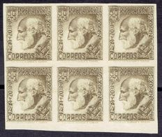 Spain 1934 – Santiago Ramón y Cajal, imperforated, in a block of six – Edifil 680s