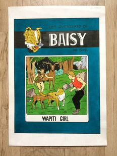 Géron - original cover in black and coloured ink - Baisy - Wapiti girl (Bessy parody cover)