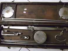 Portable scale / wooden box inspector of weights and measures brass - Portugal - 19th century