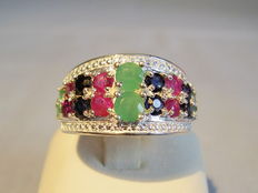 Silver ring with rubies, sapphires and emeralds totalling approx. 1.60 ct