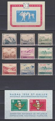 Switzerland, 1941/1959 - A Selection on stock card