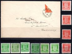 German occupation, Channel Islands 1940/1941 - batch with bisection on letter - Michel I