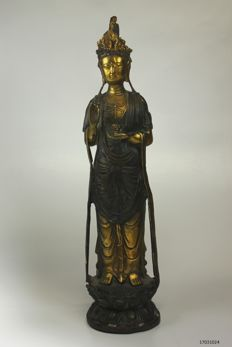 Quan Yin statue- bronze - China - partially gold plated - late 20th century