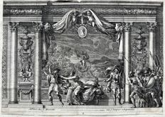 Two engravings of which one by Jean Le Pautre or Lepautre (1618 – 1682) - Historical interiors or Theatre stages  - 17th century