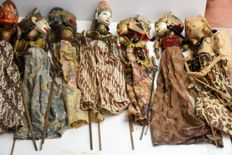 Collection of seven Wayang Golek puppets – Java – Indonesia