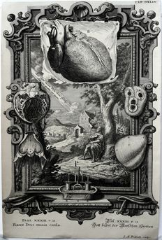I.A.Fridrich  (18th century) - Surreal Scientific & Biblical images with highly decorated Cartouches - 18th century