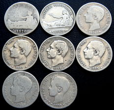 Spain – Provisional Government, Alfonso XII and Alfonso XIII – 8x silver 1 peseta coins – 1869 to 1902
