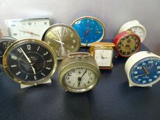 Collection of 10 functional manual alarm clocks-Westclox, Junghans, Jaz etc.