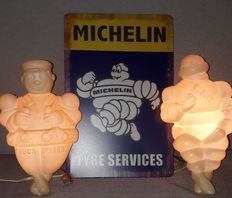 Michelin Bibendum and Truck Driver - 2 old figures with lighting - 24 cm - 2nd half 20th century