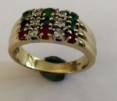Gold ring with emerald, ruby, sapphire and diamond