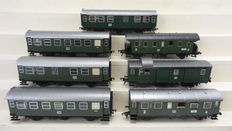 Fleischmann H0 - 1554F/1555/5091/1408/1407 - 7 passenger carriages 1st and 2nd Class and a Baggage/post carriage of the DB