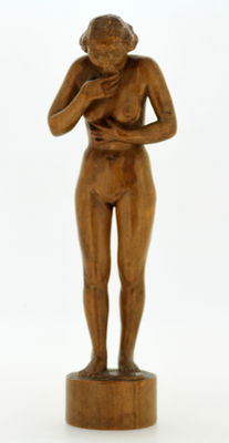 """Catastrophe"" Nude Lady Wooden Carving Sculpture By R.Flint"