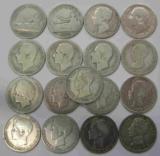Spain – Set of 17 one peseta 100 year coins, all from different years: 1869-1870-1876-1881-1882-1883-1885-1891-1893-1894-1896-1899-1900-1901-1902-1903-1904