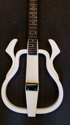 Silent guitar with steel strings, White