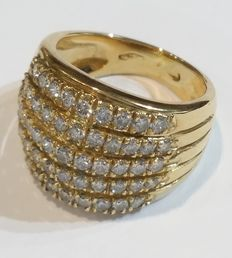 Gold ring with 2.10 ct diamonds. - size N (UK) / 6.75 (USA) / 17.1 mm (ITA)