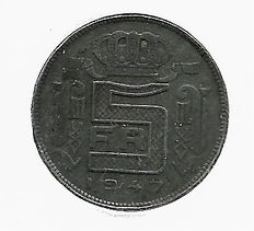 Belgium – 5 francs 1947 (French) type RAU under Prince Charles, Count of Flanders