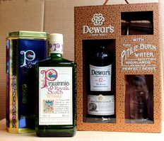 2 collector sets: Pinwinnie Royale incl. Metal Box + Dewars, aged 12 years old