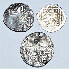 Islamic - Mongol Empire Golden Hoard 1317 - 1335 AD. Lot of 3 Mongol Dynasty AR Dirhams. Mint : Tabriz. Circa 13th Century