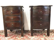 A pair of wooden night cabinets, France, second half of 20th century