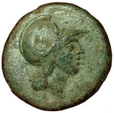 Greek Antiquity - Italy, Sicily, Syracuse, under Roman rule, after 212 BC - Æ (22mm; 8,29g.)  - Head Ares / Nike Bouthutousa - Calc. 233